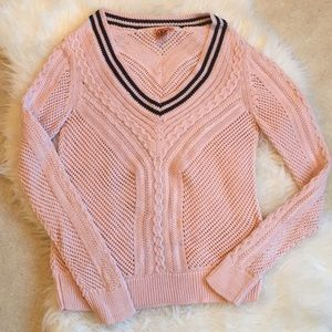 Tory Burch Rylee ballet pink & navy cotton sweater